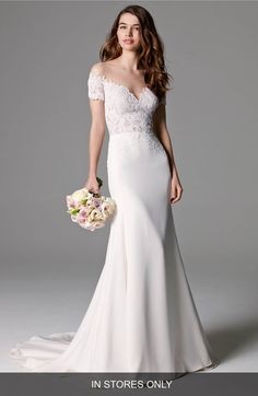 Main Image - Watters 'Seaton' Illusion Off-the-Shoulder Lace & Georgette Trumpet Gown (In Stores Only)