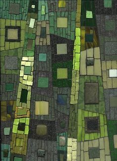 """Spring Forest by Ilona Fried (2010)  Mosaic, 9"""" X 12"""" Smalti, vitreous tile, unglazed ceramic, stained glass, beads via Maplestone Gallery ~ Contemporary Mosaic Art"""