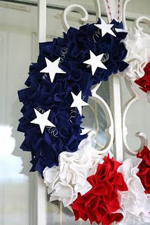 Patriotic wreath - It's made using a foam wreath form and small squares of felt, pressed in to the foam with a skewer stick.