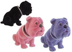 SWING DOG CRYSTAL 3 VERSIONI. Cane in 3 colori assortiti con testa dondolante rivestito in velluto