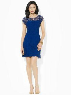 Cap-Sleeved Lace Dress - Lauren Short Dresses - RalphLauren.com
