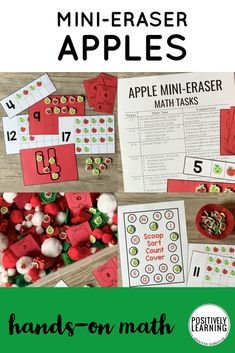 Hands-on math centers just became MUCH more fun with these cute apple mini erasers! This apple theme is perfect for Back to School and all year 'round. #minierasers #apples #mathcenters