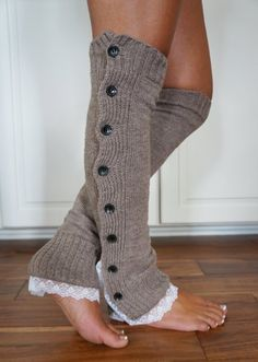 Lace Leg Warmers--Boot Cozies Lace and Button Leg Warmers Boot Socks (Heather Brown)