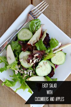 This salad with apples and cucumbers is quick and easy salad that is fresh and light and perfect for eating along side a bowl of soup or a heavier meal. I love throwing together a salad to go with a meal. It's an easy way to get vegetables (and in this case, fruit too) incorporated into the meal in another way. And the light, crunchy texture of salad is perfect along side of a creamy soup, a hearty pasta or a heavy dish like a roast. Are you the type of person that always eats the salad ...
