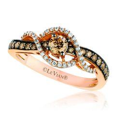 Le Vian 14K Strawberry Gold® Ring Featuring 0.60 Carats Chocolate & Vanilla Diamonds