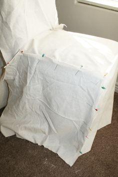 DIY Stenciled Parson Chair Slipcovers...