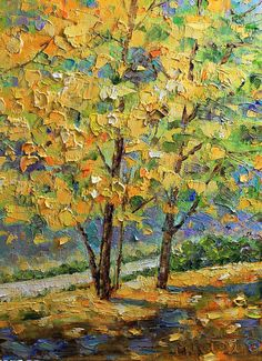 Autumm Original Oil Painting by mgotovac on Etsy, $80.00
