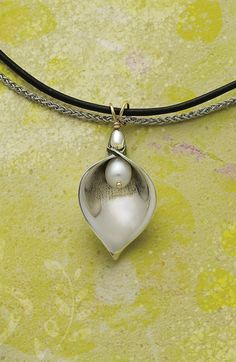 Calla Lily Pendant with Pearl #jamesavery