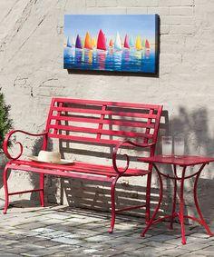 Another great find on #zulily! Red Garden Bench #zulilyfinds