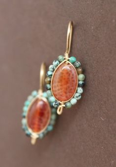 Fire Agate Earrings with African Turquoise Bead Wire Wrapped Bezel Gold Filled Handcrafted Unique Earrings, Gemstone Earrings, Beautiful Earrings, Silver Earrings, Earrings Handmade, Wire Jewelry, Beaded Jewelry, Jewellery, Jewelry Accessories