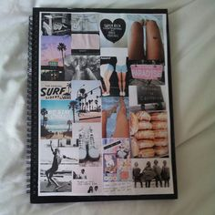 Notebook covered with pictures from magazines ♡