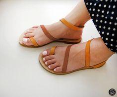 Sandals  Genuine Greek Style Leather Sandals in Tan by Sandelles, €29.00