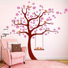 3farbiger Baum mit Schaukel und Vögeln Baby Zimmer, Kids Room, Nursery, Diy, Home Decor, House, Anniversary Decorations, Girl Rooms, Tree Wall