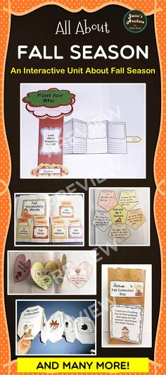 Fall, Fall Activities - 62 pages - Fall is fun and so is this packet! Loaded with 15 supplemental interactive and fun activities for your students' journal. This pack is great way to integrate with your Fall theme or lesson. Simply print the pages, cut, assemble and stick them in your notebook.