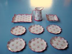 Miniature dishes - Using cardstock and cleap nail polish!!!