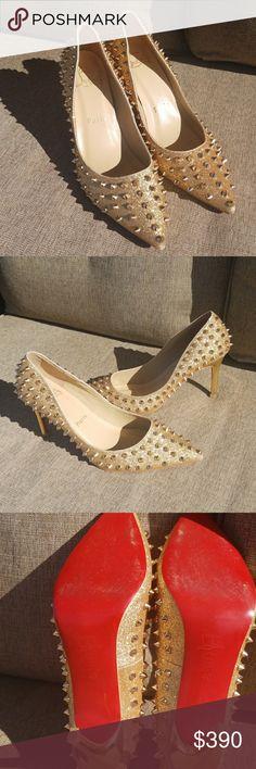 Christian Louboutin Gold Spike Heels Very clean   Size 40 Christian Louboutin Shoes Heels
