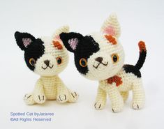 ***THIS IS A CROCHET PATTERN, NOT FINISHED DOLLS*** These amigurumi cats are originally created by me. They are approximately 4 inches tall (size of doll depends on your tension and the yarn you use). Like my other puppy and kitten patterns you can make them in sitting and 2-leg