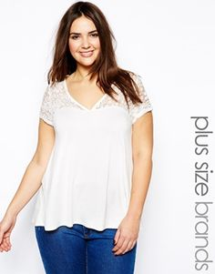 Image 1 ofNew Look Inspire Scallop Lace Tee
