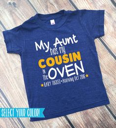 "Cousin Shirts - Bun in the Oven - New Cousin Announcement - Announcement Shirts - BIG Cousin Shirt - Personalized Cousin Shirt  <a href=""http://www.VazzieTees.com"" rel=""nofollow"" target=""_blank"">www.VazzieTees.com</a> <a href=""http://www.VazzieTees.etsy.com"" rel=""nofollow"" target=""_blank"">www.VazzieTees.et...</a>"