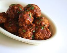 Barbecue turkey meatballs from The Bitten Word by Bruce Weinstein and Cooking Light Magazine and Mark Scarbrough