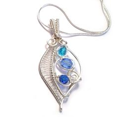 Wire Weave Leaf Pendant - Turquoise and Blue £30.00 from Kian Designs
