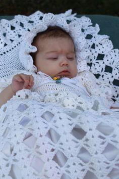 Picture of Blessed Christening Set Crochet Pattern Crochet Baby Dress Free Pattern, Baby Girl Crochet, Crochet Baby Shoes, Crochet Baby Clothes, Crochet Patterns, Stitch Patterns, Thread Crochet, Crochet Stitches, Crochet Hooks
