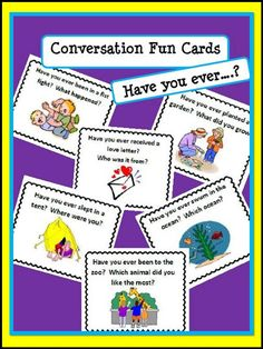 Conversation Fun Cards ESL: Have you ever...? Present Perfect Tense