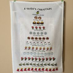Skier's Xmas Flower Sack Towel by MaxBuddyVintage on Etsy