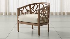 Ankara Grey Wash Frame Chair with Fabric Cushion | Crate and Barrel