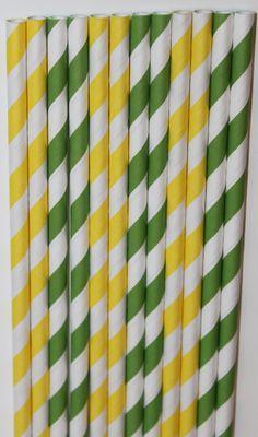 50 John Deere Inspired yellow green Stripe straws paper straws birthday party wedding cake pop sticks Bonus diy straw flags. $8.00, via Etsy.