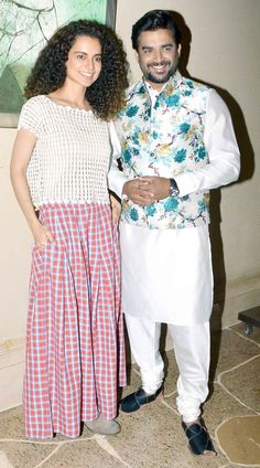 Kangana Ranaut and R Madhavan at a promotional event for Tanu Weds Manu Returns. Nehru Jacket For Men, Waistcoat Men, Kurta Pajama Men, Kurta Men, Wedding Dress Men, Indian Wedding Outfits, Indian Men Fashion, Mens Fashion Suits, Modi Jacket