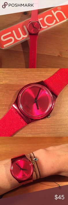 "Swatch Red Glitter Watch Swatch Red Glitter Watch Brand new in box, still has plastic cover on the clock, battery was just changed! Watch is approximately 9"" long, diameter is 1 1/2"" Swatch Accessories Watches"