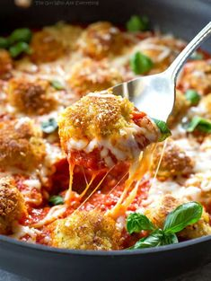 Chicken Parmesan Meatballs on a spoon
