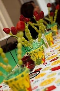 HUNGRY CATERPILLAR PARTY - grapes on skewers