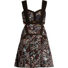 Self-portrait Floral-jacquard mini dress (415 AUD) ❤ liked on Polyvore featuring dresses, purple multi, jacquard dress, self portrait dress, floral print dress, floral cut out dress and short sweetheart dress
