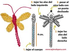 Crochet dragonfly with video tutorial in Spanish Crochet Dragonfly Pattern, Crochet Butterfly, Freeform Crochet, Irish Crochet, Crochet Motif, Crochet Flowers, Crochet Stitches, Knit Crochet, Crochet Patterns