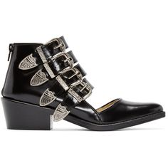 Toga Pulla Black Western Cut-Out Buckle Boots ($465) ❤ liked on Polyvore featuring shoes, boots, ankle booties, black, black cowboy boots, black cowgirl boots, short cowboy boots, cut-out booties and black boots