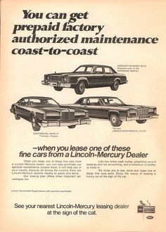 1975 Mercury Monarch Ghia - Continental Mark IV - Lincoln Continental Coupe Advertisement Time Magazine February 10 1975 | by SenseiAlan