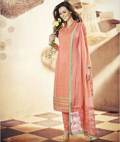 Buy Peach Georgette Churidar Suit 71189 online at lowest price from huge collection of salwar kameez at Indianclothstore.com.