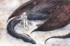 Reminds me a bit of Manon & Abraxos [Daenerys and Drogon by EJBeachy]