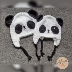 Panda crochet hat. black and white.