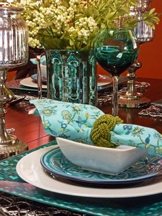 beautiful table setting with aqua shades
