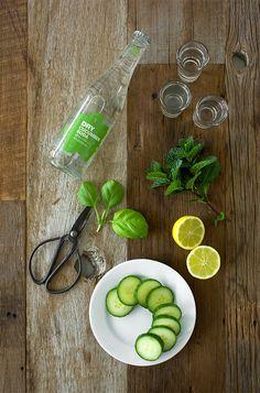 Cucumber-Mint Gin Fizz - a crisp, refreshing spin on the gin fizz with an added hint of basil and elderflower liqueur. | www.brighteyedbaker.com