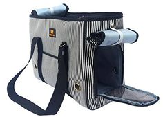 Crazystones Pet Durable Hard Feeling Crossbody Shoulder and Portable Outdoor Carrier Bag 3 Colors and 3 Sizes Black and white stripe L suitable for less 165 pounds -- You can find more details by visiting the image link.(This is an Amazon affiliate link and I receive a commission for the sales)