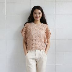 Short Sleev Over Size Tops Lace Cotton Soi-Fah Tan Color-www.tanbagshop.com
