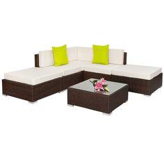 TecTake Conjunto muebles de jard/ín terraza poli rat/án aluminio 1x sof/á 2x sillones 2x taburetes 1x mesa gris