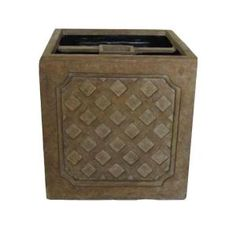 21 in. Cast Stone Square Lattice Mailbox Planter in Aged ivory finish-PF4737AI at The Home Depot