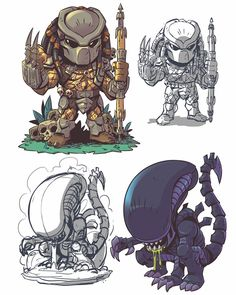 The Art of Derek Laufman Alien Vs Predator, Predator Alien, Arte Alien, Alien Art, Horror Icons, Horror Art, Cartoon Kunst, Cartoon Art, Predator Tattoo