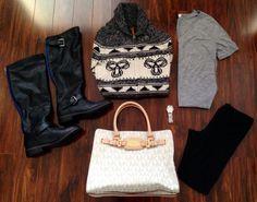 Fall/Winter Fashion: TNA sweater, OLD NAVY Grey basic tee, TNA Leggings, JUSTFAB Nabila boots, GUESS watch, MK Tote