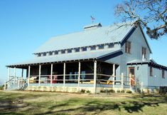 This is the outside of the large barn house room pictured with the juke box.
